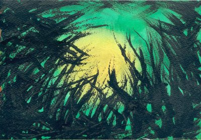 green sky, yellow sun, black grass image